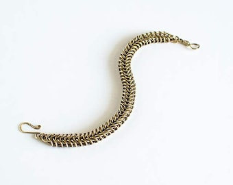 """Brass Chainmaille Bracelet Box Chain Antiqued Brass 7.5"""" Chain Maille Mail Box Chain Bracelet Handmade Hand Made"""