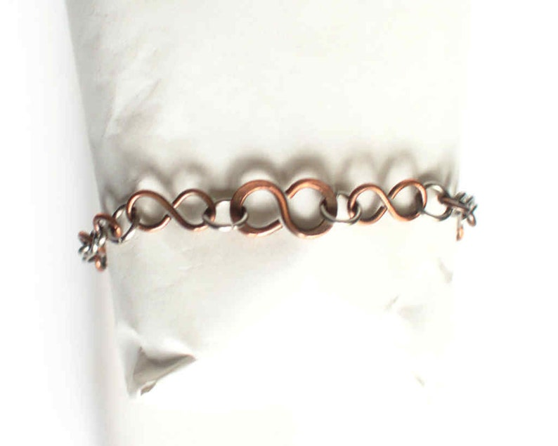 Infinity Bracelet Copper Chain Stainless Steel Infinity Links Infinity  Infinite Steel Bracelet Antiqued Copper Patina Handmade Hand Made