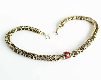 """Brass Necklace Jasper Box Chain Chainmaille Tapered 18"""" Necklace Antiqued Brass ft. Red Jasper 12mm Round Beads Mail"""