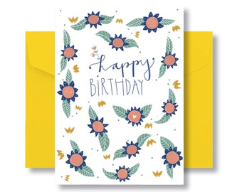 """Folding card """"happy birthday"""" with yellow envelope"""