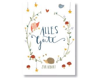 "Postcard ""Happy birth"""