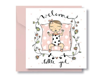 "Folding card ""Babygirl"" with envelope"