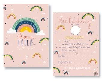 Invitation Cards Children's Birthday, Birthday Invitations, Rainbow, Children's Birthday Invitation,