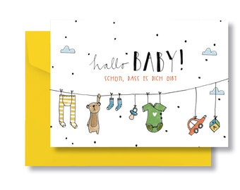 """Folding card """"hello, baby"""" with envelope"""