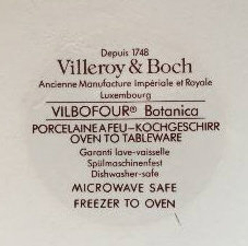 Villeroy /& Boch 7-34 Botanica Souffle or Casserole Anthyllis Vulneraria Pattern in Excellent Seemingly Unused Condition
