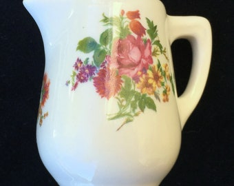 Lamberton Scammell Ivory 4 oz. Hotel Restaurant Diner Creamer with Colorful Floral Decor in Excellent Condition