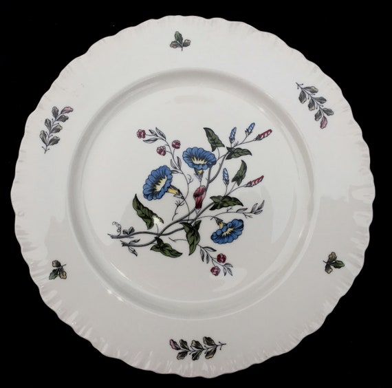 Set of Six in Excellent Wedgwood Williamsburg Wild Flowers 10-14 Dinner Plates Seemingly-Unused Condition