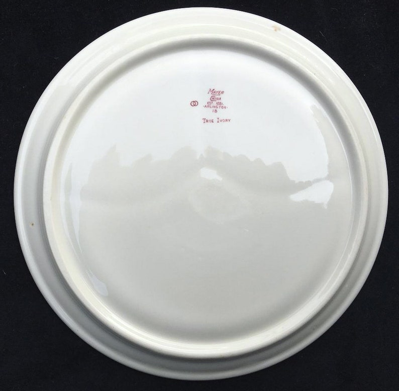 Set of 2 Mayer Diner Restaurant Hotel China Red or Maroon Arlington Pattern 9-12 Grille Plates in Excellent Condition