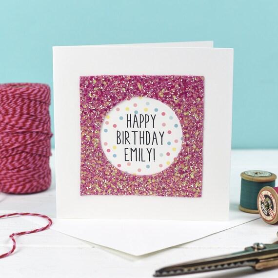 Custom Happy Birthday Card Personalised Pink
