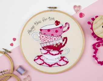 Embroidery art for Tea lover - Gift for Tea lover - Kitchen art - Teacup embroidery hoop wall - Tea lover art - Always time for tea