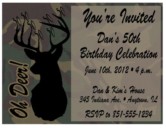 Deer hunting camo printable birthday invitations milestone etsy image 0 filmwisefo