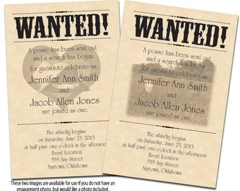 Wanted Poster Printable Wedding Invitations & Reply Cards