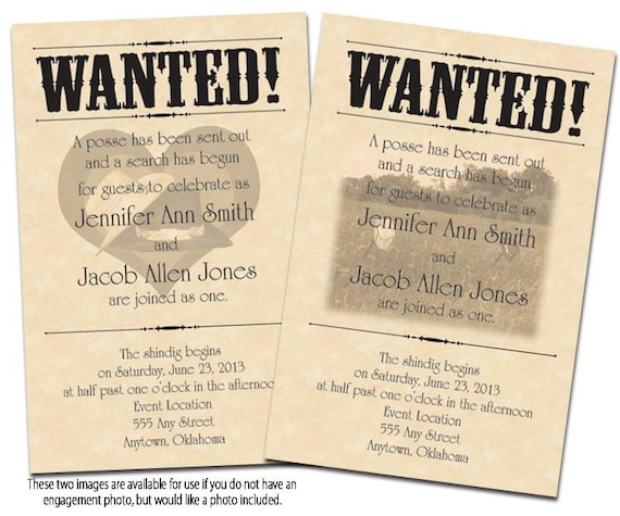 Wanted Poster Printable Wedding Invitations Reply Cards Etsy