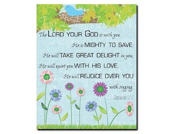 Printable Zephaniah 3:17 Wall Print with Flowers- 8x10