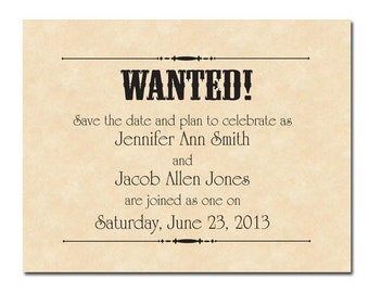Wanted Poster Printable Wedding Save the Dates