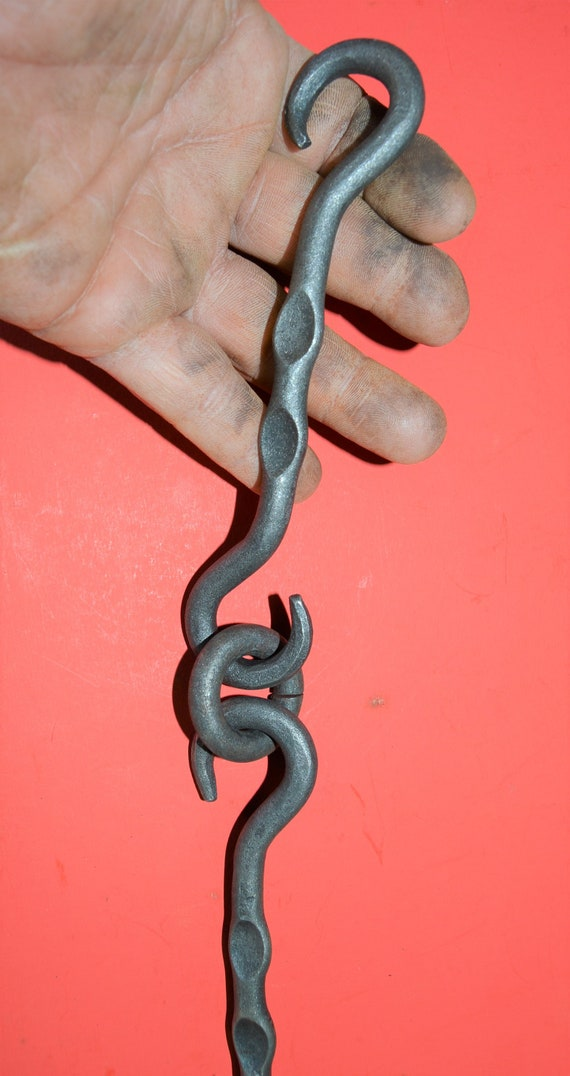 Hand Forged by Blacksmiths in USA Chain S-Hook Wrought Iron 5//16 in