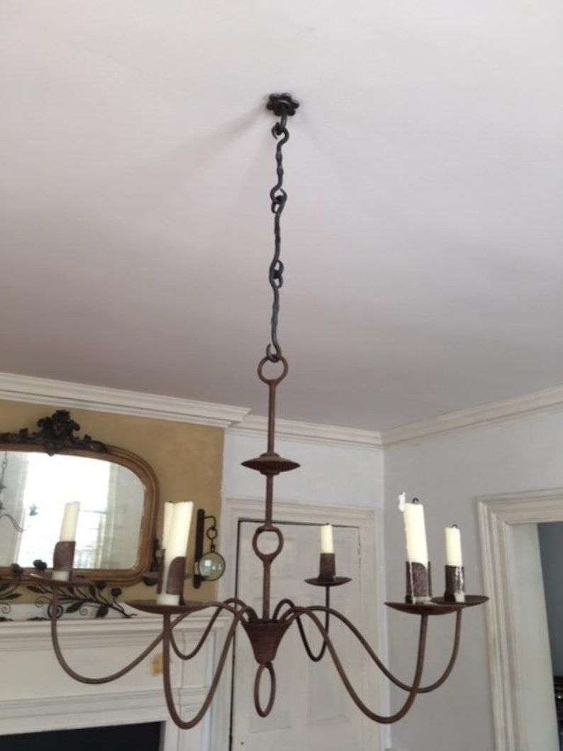 """Lighting Chandelier Lamp 3 Link Hook Chains /& Ring 3 pcs 22/"""" Wrought Iron"""