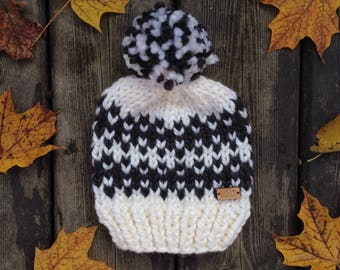 Black and White chunky fair-isle knit toddler size hat with pompom dd42e7e7abd5