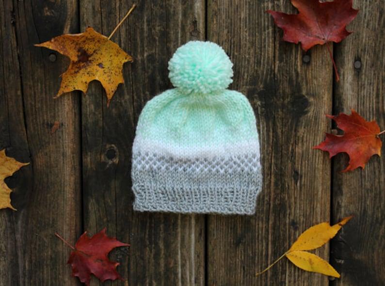 steel grey white /& pale aqua knit baby hat with pompom