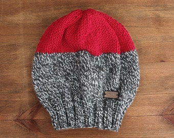 Kamloops Hat - Slouchy style knit color-block hat in marled grey and bright red