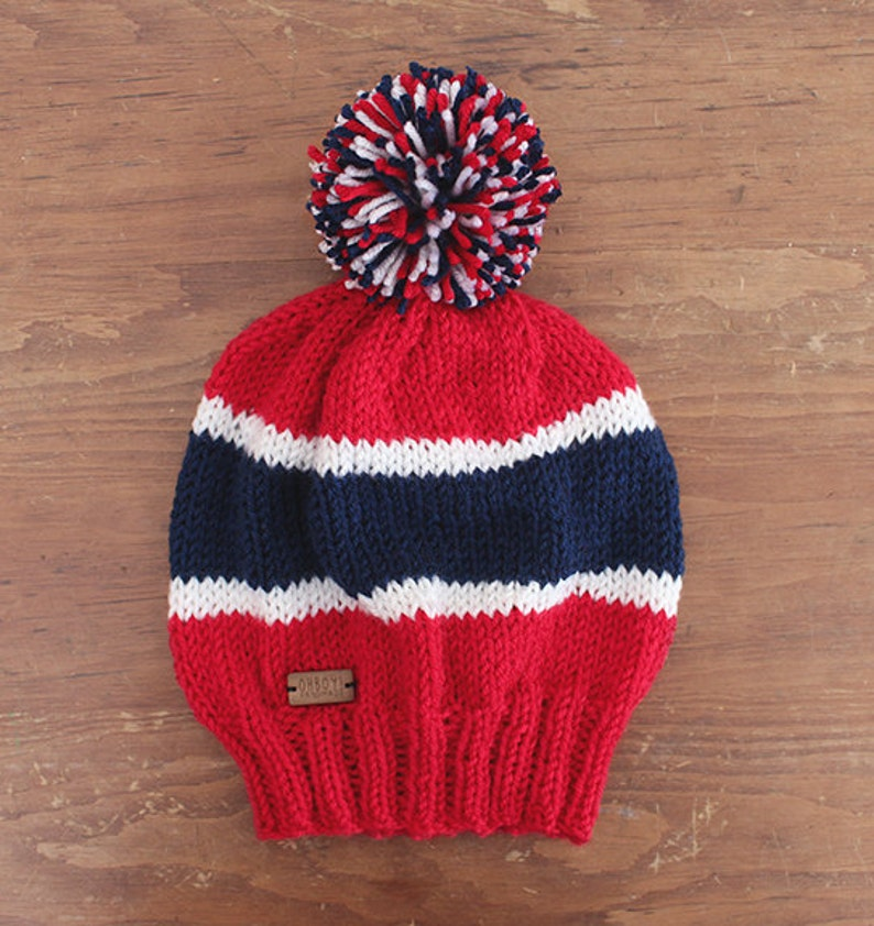 7a2f16cdddd Red white   blue slouchy style Montreal Canadiens knit hat