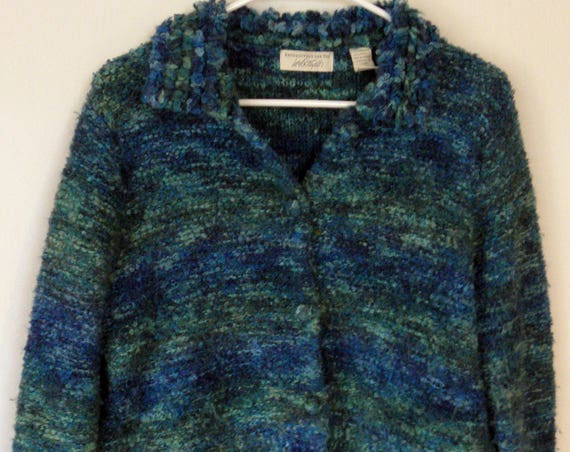 Vintage Lord & Taylor Blue Turquoise Wool Blend Coat Jacket Medium