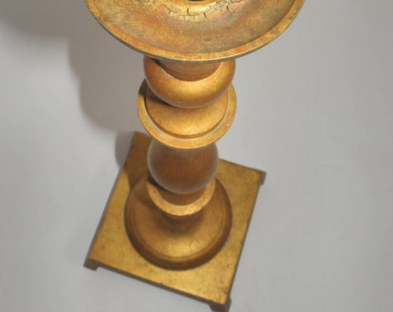 "AMAZING Old Art Deco Vintage Brass Church Wedding Gilt Candlestick Holder - 15"" Tall"