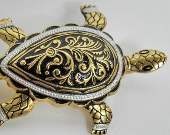 Vintage Black and Gold Tone Hand Painted TURTLE Brooch Pin ~ made in SPAIN