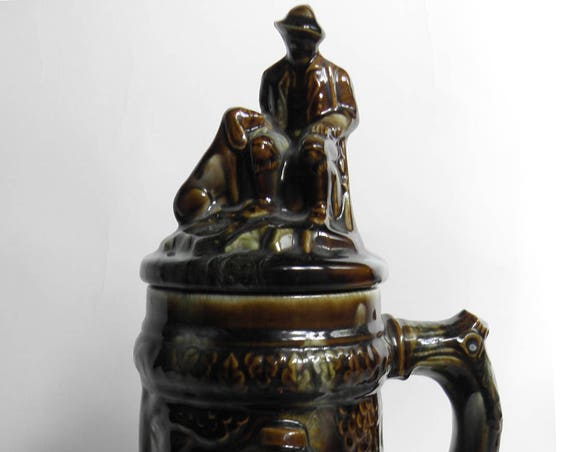 Old Vintage Tavern German Ceramic Glass Stein