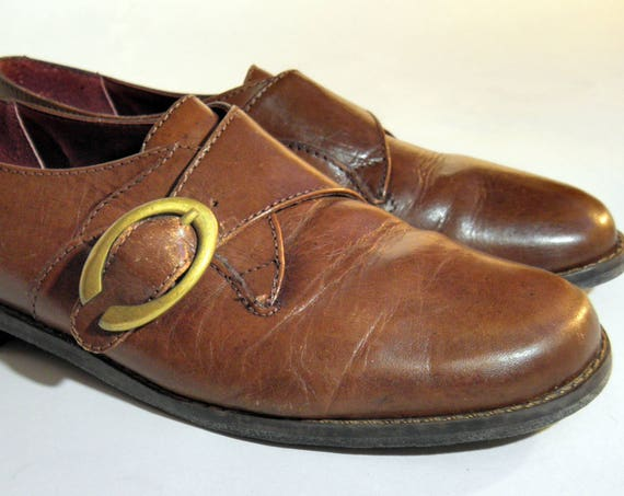 Vintage EUROCLUB Brown Leather Buckle Women's Shoes Sz 6.5 - Free Shipping