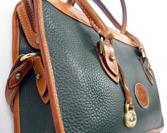 XTRA LARGE Vintage Green British Tan All Weather Leather Dooney & Bourke Purse Hand Bag