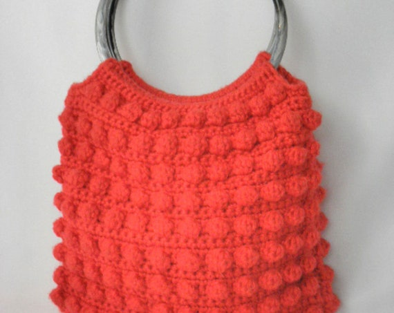 Vintage Handmade Red Crochet Tote Purse Bag - Excellent