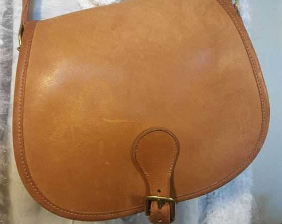 RARE Vintage Tan Leather Coach Crossbody Purse Bag Made in United States