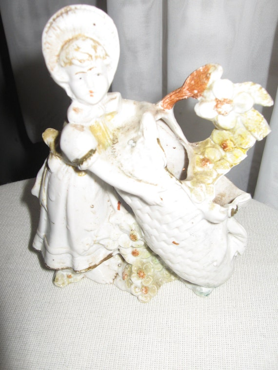 German Girl Bisque Porcelain Figurine, Numbered