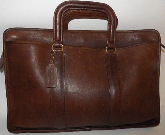 Vintage Coach Laptop Tablet Briefcase Brown Glove Tanned Leather UNISEX