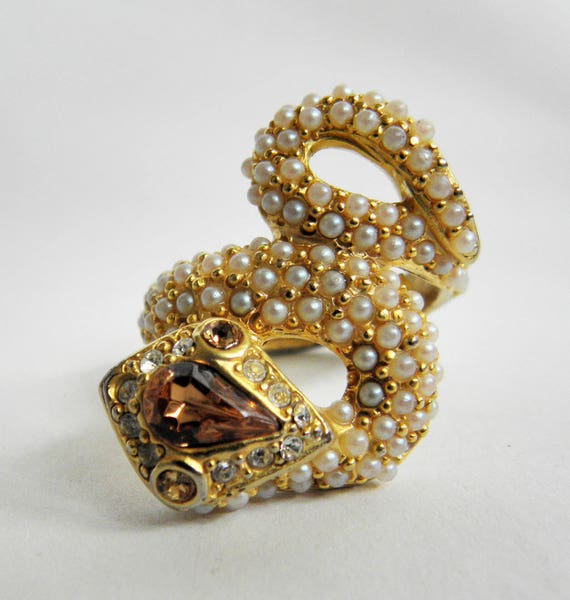 Vintage Topaz and Seed Pearl Snake Ring ~ goldtone adjustable ~ Size 7.5