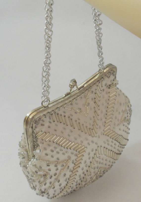 PRICE REDUCED - Hand Beaded Silver Bead Satin Vintage Evening Bag - 1950's - '60's
