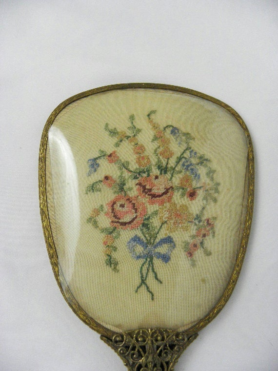 Vintage Art Deco Dressing Table Boudoir Bridal Floral Hand Mirror