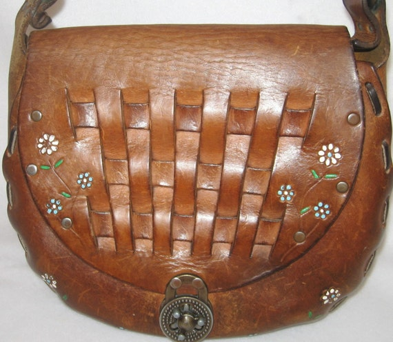 Tooled Leather Vintage Purse From The '70's With Flowers