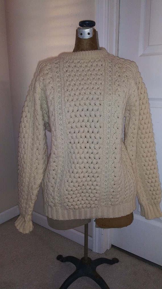 Vintage Hand Crafted Pure Wool Fisherman Sweater size large