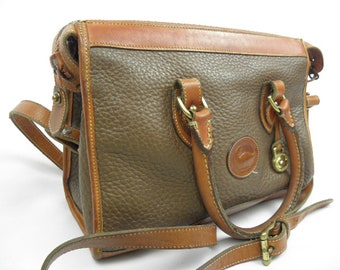 EXTRA LARGE '90's Dooney & Bourke All Weather Leather Two Tone Shoulder Crossbody Handbag Purse with long shoulder strap