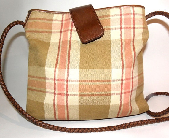 RELIC Tan Maroon & White Plaid Canvas Vintage Purse
