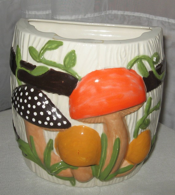 VINTAGE Mushroom Ceramic Kitchen Utensil Holder - 1980's Orange Brown Green Mushroom Woodland Scene
