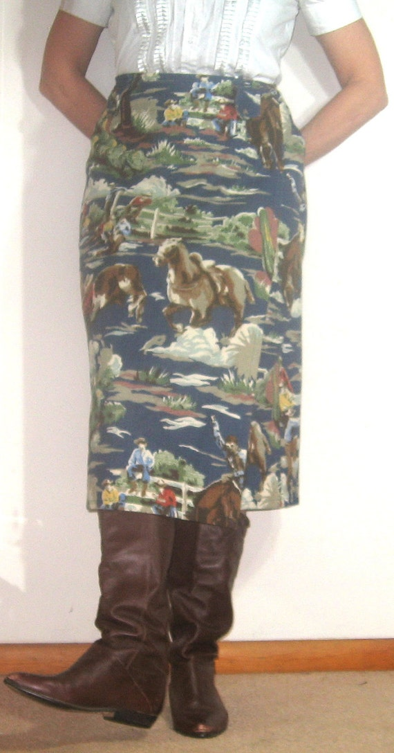 Vintage IVORY COAST Cowboy and Horse Wraparound Long Midi Heavy Cotton Woman's Skirt Size Medium