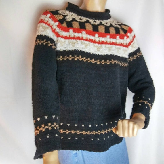 Vintage Nordic Fleece Women's Sweater by Claudia D Medium