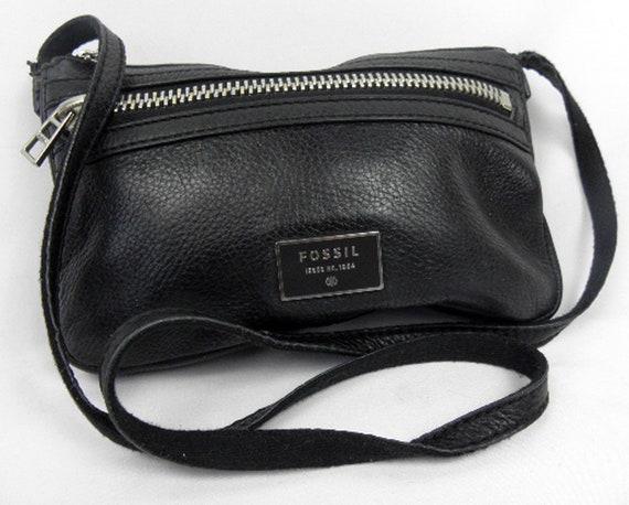 Vintage Black Leather Fossil Cross Body Purse Bag