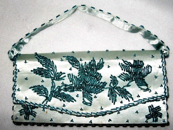 Beaded SILK Vintage Evening Formal Bag From Hong Kong Turquoise Hand Beaded Purse