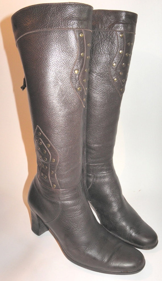 Via Spiga Brown Pebbled Leather Women's Vintage Boots Sz 6.5 Made in Italy