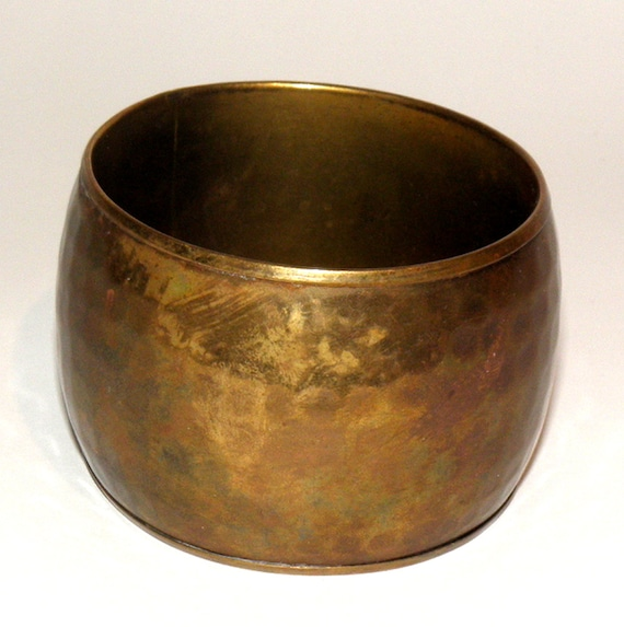 PRICE REDUCED Vintage Hand Hammered Brass Cuff Bracelet from 1980's