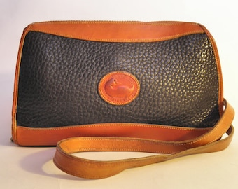 Vintage Dooney & Bourke Black Tan Leather Shoulder Bag